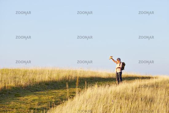 Man meadow light