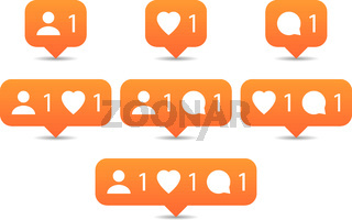 Like, follow, comment icons in flat style