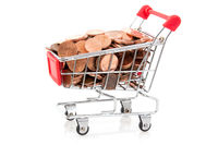Shopping cart with coins, isolated on white