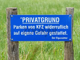 Privatgrund - Schild