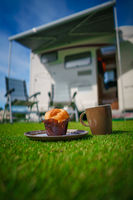 Coffee Mug on grass. Family vacation travel, holiday trip in motorhome