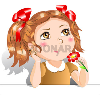 Little girl with red flowers