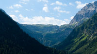 Beautiful view of a valley in the Alps