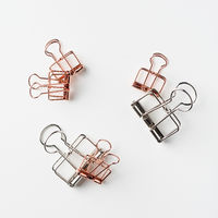 Top view of empty copper and silver clip on white background desk for mockup