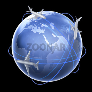 Three airplanes around th eglobe - air travel concept illustration