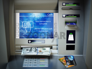 ATM machine, money cash and credit cards. Withdrawing dollar banknotes.