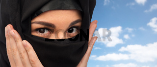 close up of muslim woman in hijab