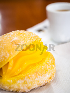 Portuguese Doughnut Or Berliner With Egg Creme And Coffee