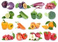 Obst und Gemüse Früchte Apfel Orange Tomaten Farben frische Collage Freisteller freigestellt isoliert