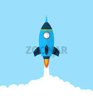 Flat icon of rocket with long shadow style, startup concept