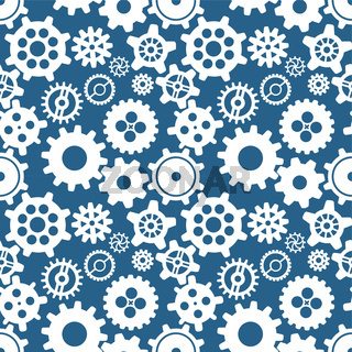 Different silhouettes of cogwheels on blue, seamless pattern