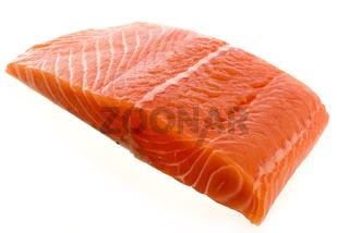Salmon Fillet as closeup on white background
