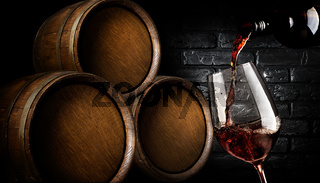 Barrels with wine