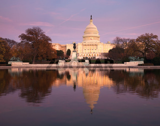 Washington DC view of the Capital Building and dome reflected in the calm water