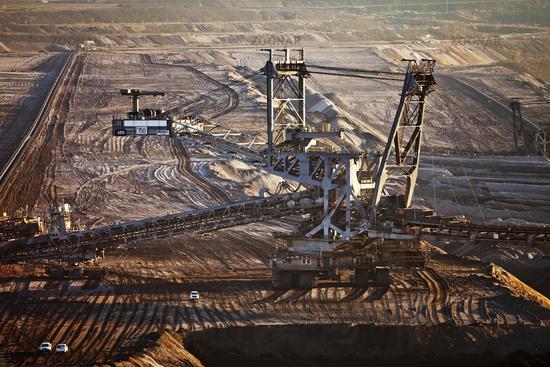 brown coal surface mining with stacker, Garzweiler, Juechen, North Rhine-Westphalia, Germany, Europe