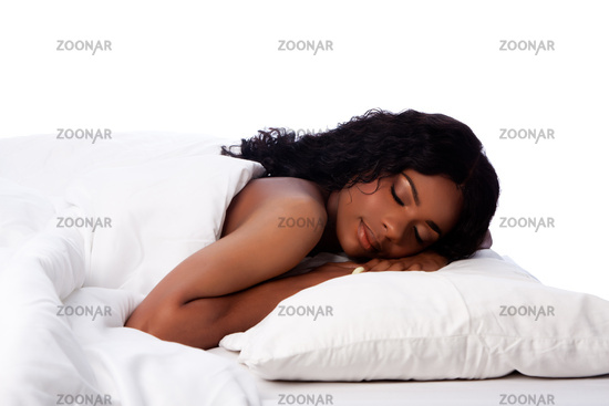 Beautiful woman happily asleep