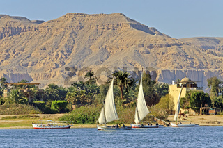 Egypt Luxor Falukas On  The River Nile