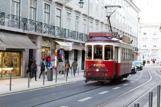 Red tram in Lisbon (Portugal)