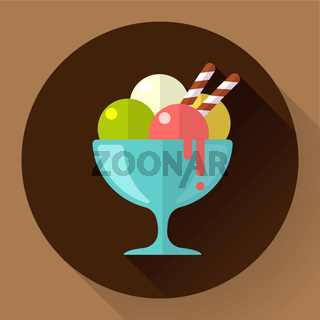 Vector Ice Cream in glass cup icon. Flat designed style