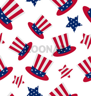 Seamless pattern with Uncle Sam's top hat and stars for american holidays, repeating backdrop