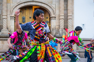 Dancers at Fiesta of the Virgin de Guadalupe in Sucre