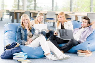 Group of young students at high school