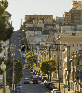 Uphill street in San Francisco
