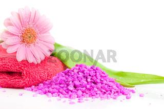 Spa essentials (bath salt and flower)