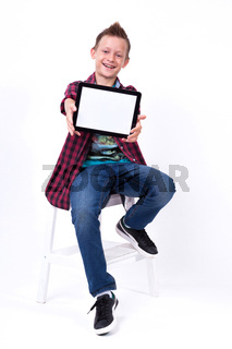 Successful student with a tablet in hand screen to the client on