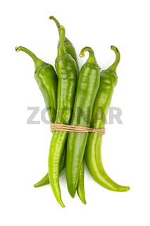 Bunch of jalapeno hot chili peppers on white