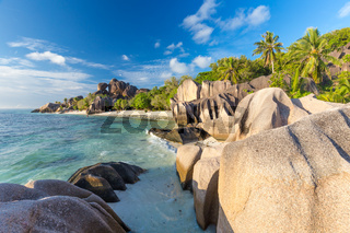 Beautiful Anse Source d'Argent tropical beach, La Digue island, Seychelles.