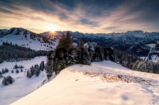 sunrise in winter Alps