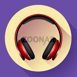 Realistic Vector headphones icon. Flat design style.