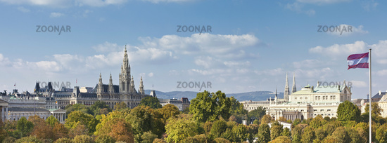 Panorama view at the Vienna Town Hall, Imperial Court Theater, and part of the Austrian Parliament B