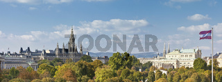 Panorama view at the Vienna Town Hall, Imperial Court Theater, and part of the Austrian Parliament Building