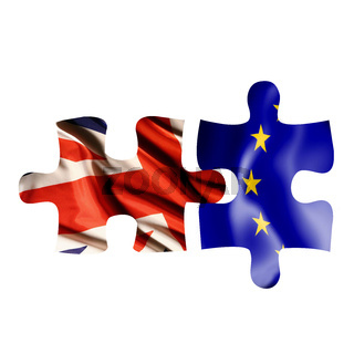 Brexit and EU Flags in Puzzle