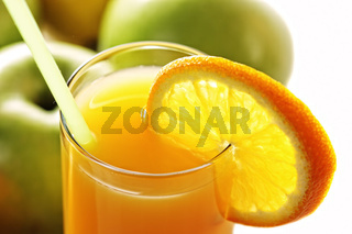 Orange fresh juice and apples