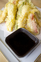 Vegetable tempura with soya souce bowl