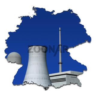 Atomkraftwerk vor blau in Deutschlandkarte