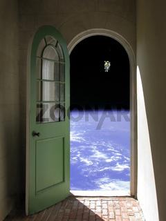 Space Walk through Arched Doorway
