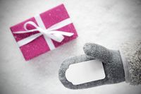 Pink Gift, Glove, Copy Space, Snowflakes