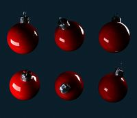 red christmas tree balls on blue background