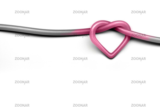 Heart Knot on white background - Valentine day and love concept