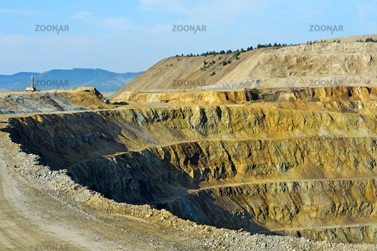 Open-pit copper mine of the Erdenet Mining Corporation, Erdenet, Mongolia