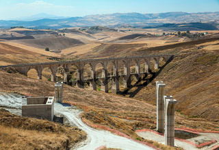 Construction of the bridge and the highway on the island of Sicily