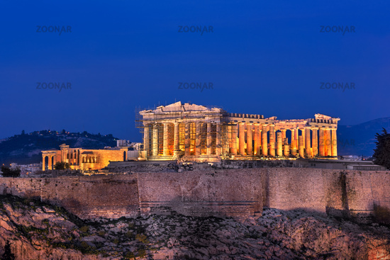 View of Acropolis and Parthenon from the Philopappos Hill in the Evening, Athens, Greece