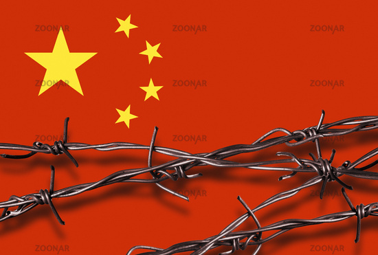 Flag of China with barbed wire