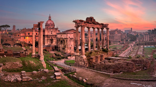 Panorama of Roman Forum (Foro Romano) in the Morning, Rome, Italy