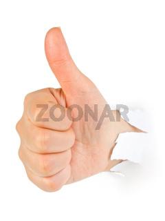 Hand punching thru paper