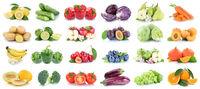 Obst und Gemüse Früchte Apfel Orange Zitrone Tomaten Farben Collage Freisteller freigestellt isoliert